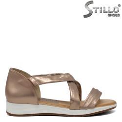 Sandale piele naturala roz aurii - 30754