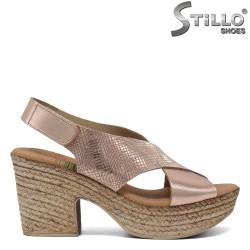 Sandale piele cu toc inalt - 30758