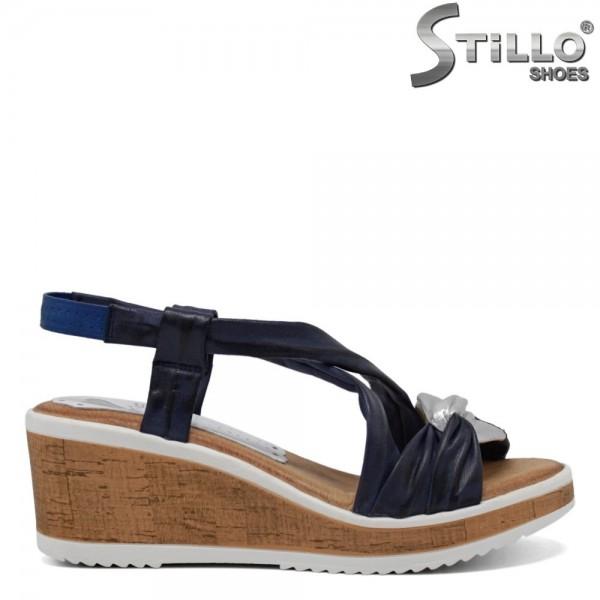 Sandale albastre si argintii piele cu platforma - 30761