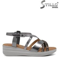 Sandale argintii din piele naturala - 30763