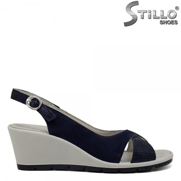 Sandale dama din velur natural cu platforma - 30766