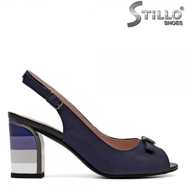 Sandale piele cu toc in dungi - 30788