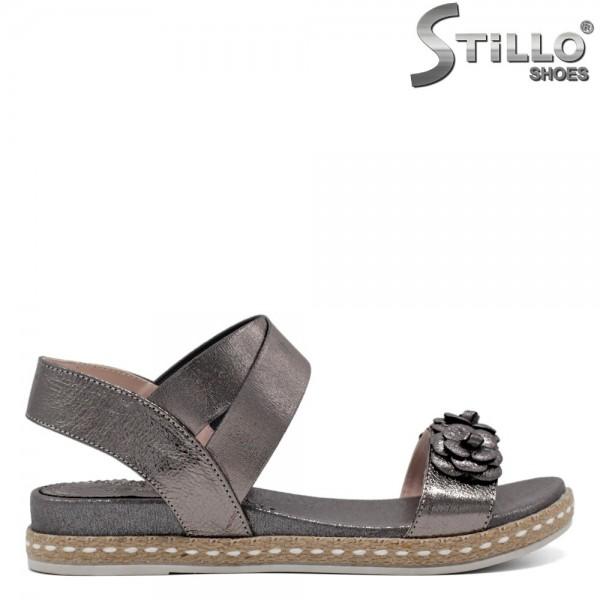 Sandale piele decorate cu flori - 30842