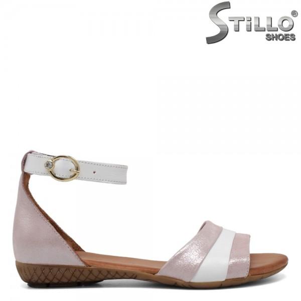 Sandale alb si roz sidefat piele - 30846
