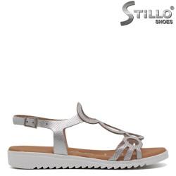 Sandale argintii din piele naturala - 30866