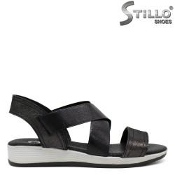 Sandale dama culoare grafit din piele - 30882