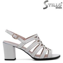 Sandale dama din piele naturala de culoare alb - 30916