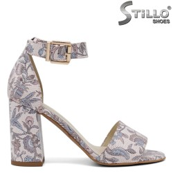 Sandale dama florale cu toc inalt - 31153