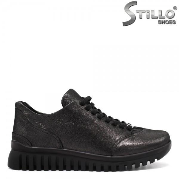 Pantofi argintiu inchis din piele cu sireturi - 31183
