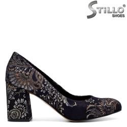 Pantofi dama velur cu motive florale- 31218