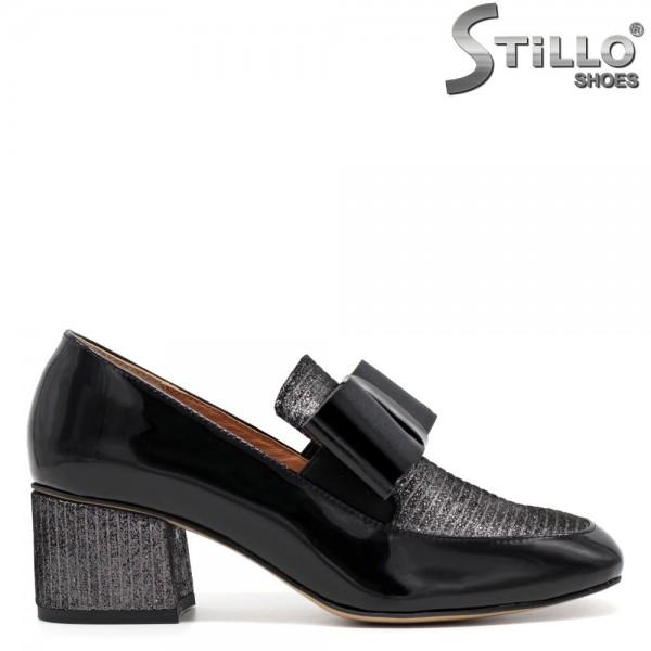 Pantofi de dama din lac cu papion - 31235