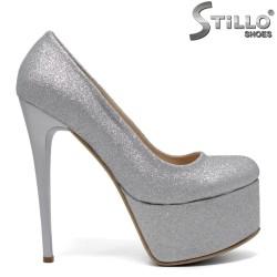 Pantofi dama din brocat cu platforma -32081