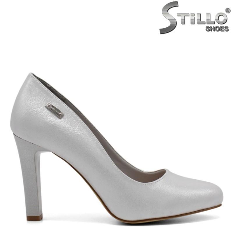 Pantofi dama din piee ecologica de culoare gri - 32284