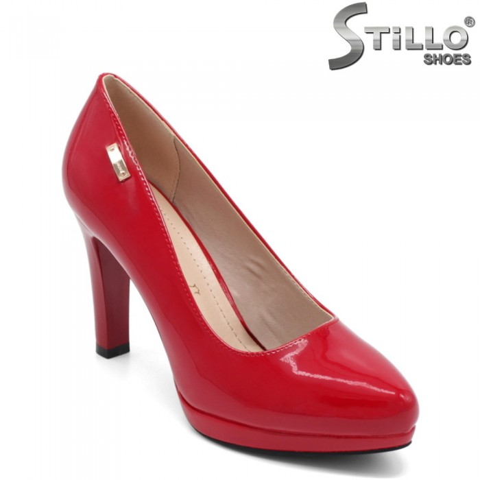 Pantofi dama din lac de culoare rosu - 32289