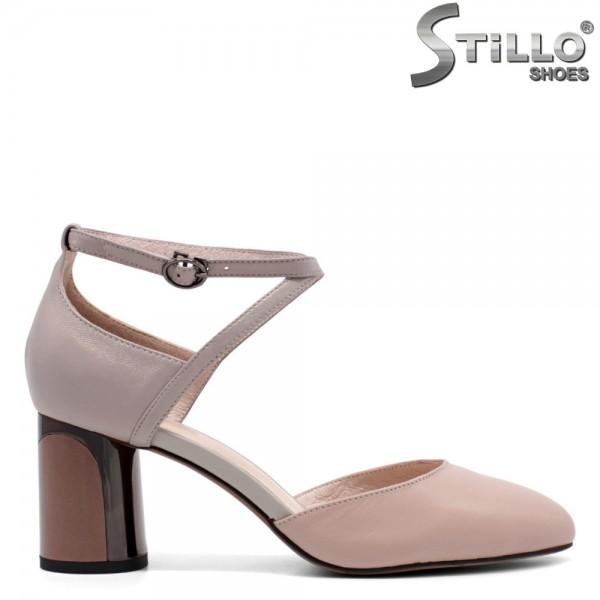 Pantofi dama din piele naturala cu toc rotund-32429