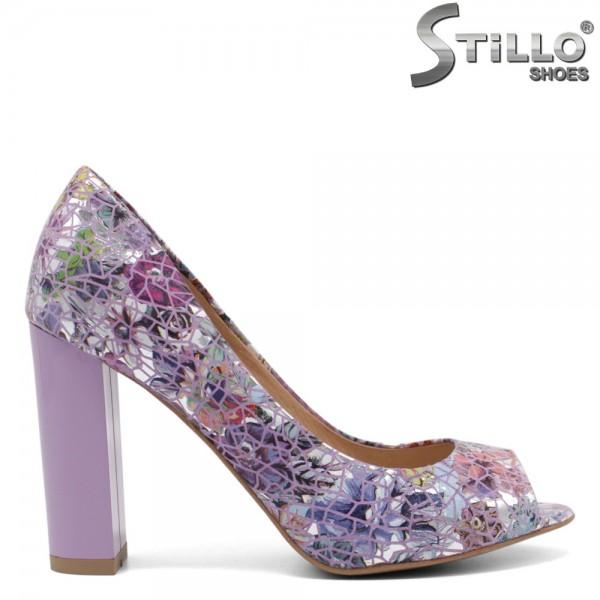 Pantofi dama din piele naturala cu desen floral - 32435
