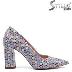 Pantofi dama din lac natural cu desen mozaic - 32441