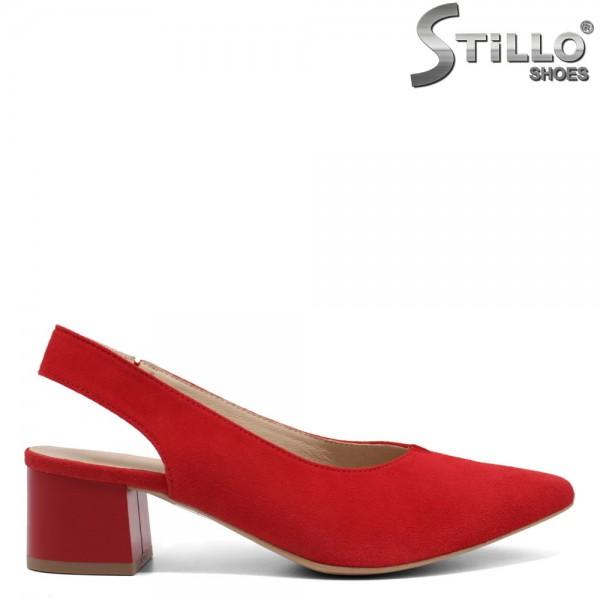 Pantofi dama din velur natural cu partea din spate decupata - 32451