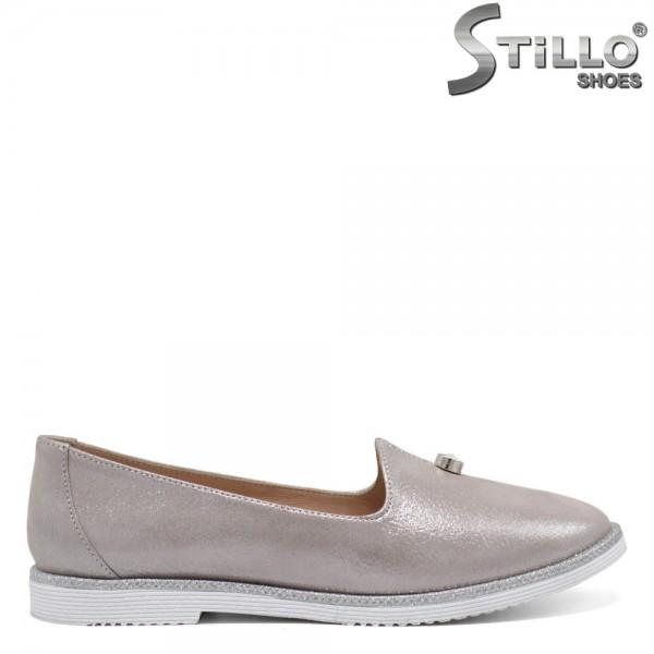 Pantofi dama din piele naturala argintiu - 32457