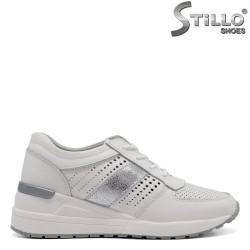 Pantofi dama tip sport din piele naturala cu sireturi - 32469