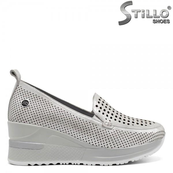 Pantofi dama din piele naturala cu platforma - 32485