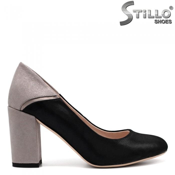 Pantofi dama din velur natural si cu toc argintiu - 32507