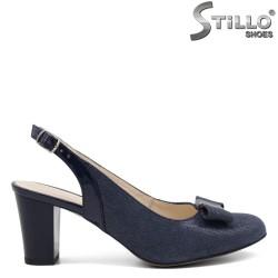 Pantofi dama cu toc gros mijlociu din velur natural - 32518