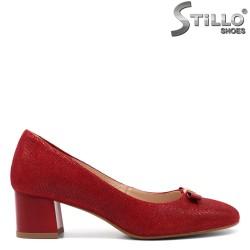 Pantofi dama din velur natural de culoare rosu - 32520