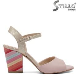 Sandale piele naturala cu toc colorat - 32526