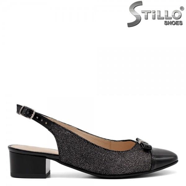 Pantofi dama din velur natural cu toc jos - 32528