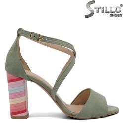Sandale din velur natural cu toc inalt - 32534