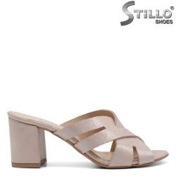 Papuci dama din piele naturala de culoare roz perlat - 32535