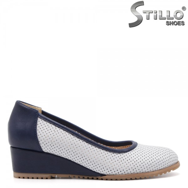 Pantofi dama cu perforatie din piele naturala - 32536