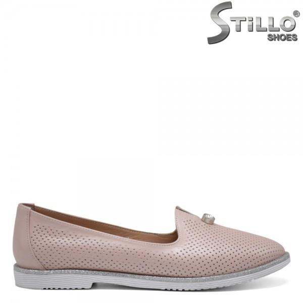 Pantofi dama din piele naturala cu perforatie - 32541