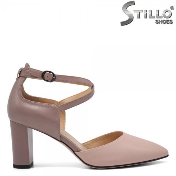 Pantofi dama cu toc mijlociu din piele naturala - 32543