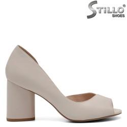 Pantofi dama din piele naturala de culoare bej - 32549