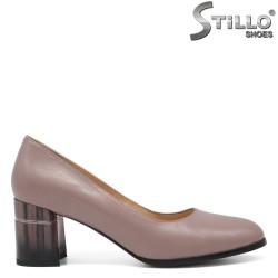 Pantofi dama din piele naturala cu toc mijlociu - 32552