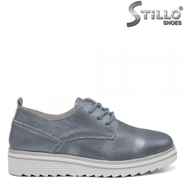 Pantofi dama din piele naturala si cu sireturi - 32561