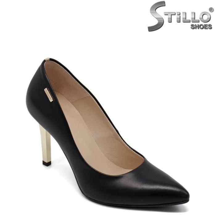 Pantofi dama din piele naturala si  cu toc mietalic - 32564