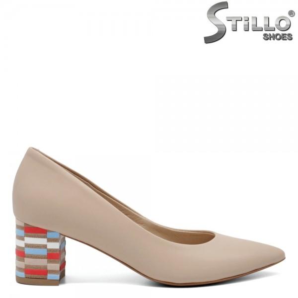 Pantofi dama cu toc colorat din piele naturala - 32576