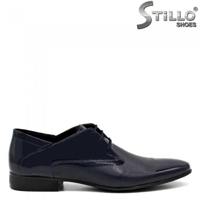 Pantofi barbati de culoare albastru din piele naturala- 32605