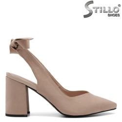Pantofi dama de culoare bej cu toc inalt - 32631