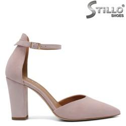 Pantofi dama de culoare roz din velur natural - 32651