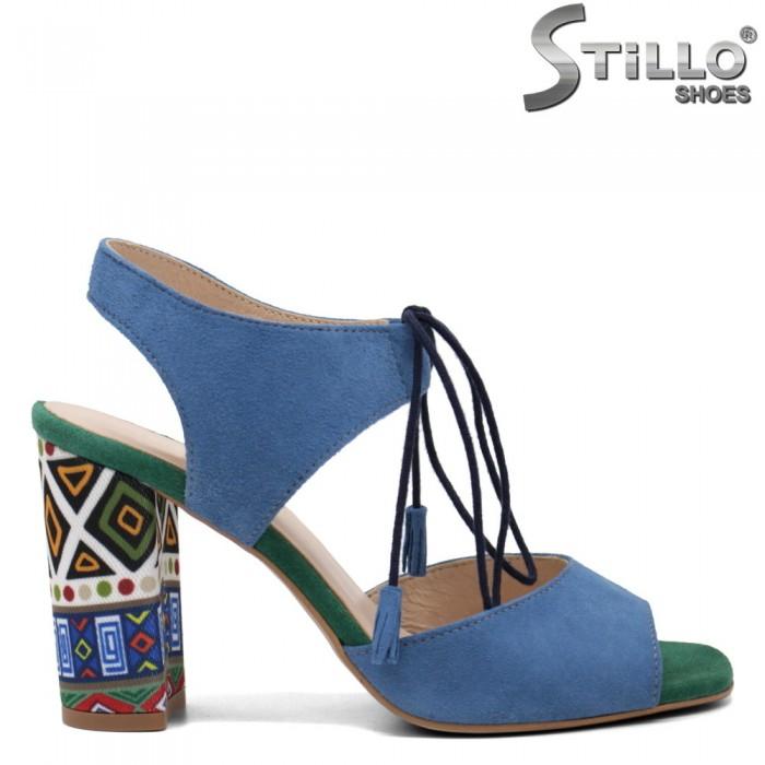 Sandale dama din velur  cu sireturi si ciucuri - 32667