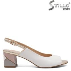 Sandale dama din piele naturala cu toc  - 32669