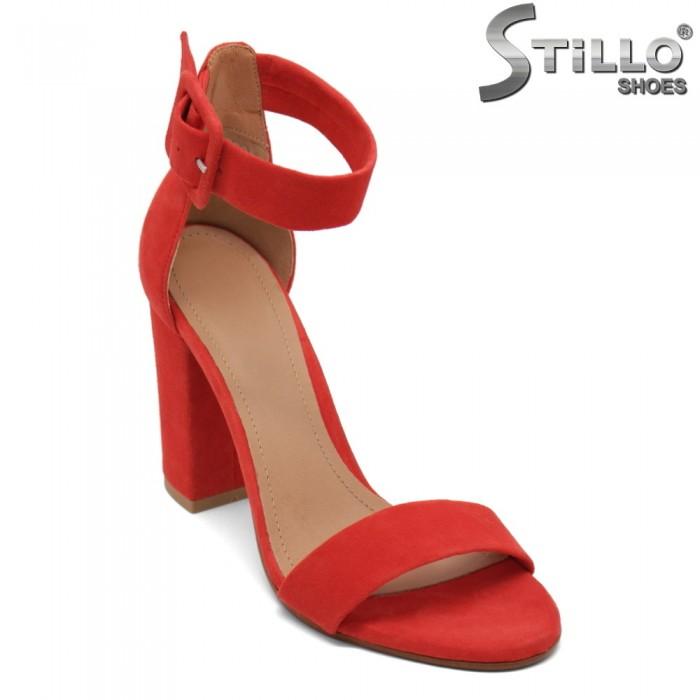 Sandale dama din velur de culoare rosu - 32671
