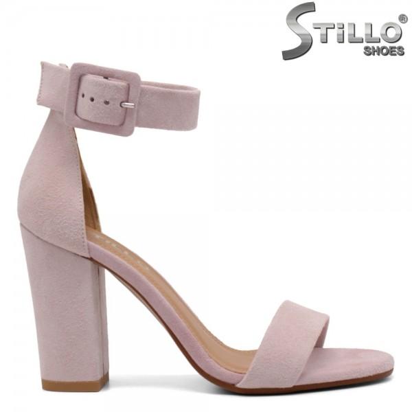 Sandale dama cu toc inalt din velur natural - 32673
