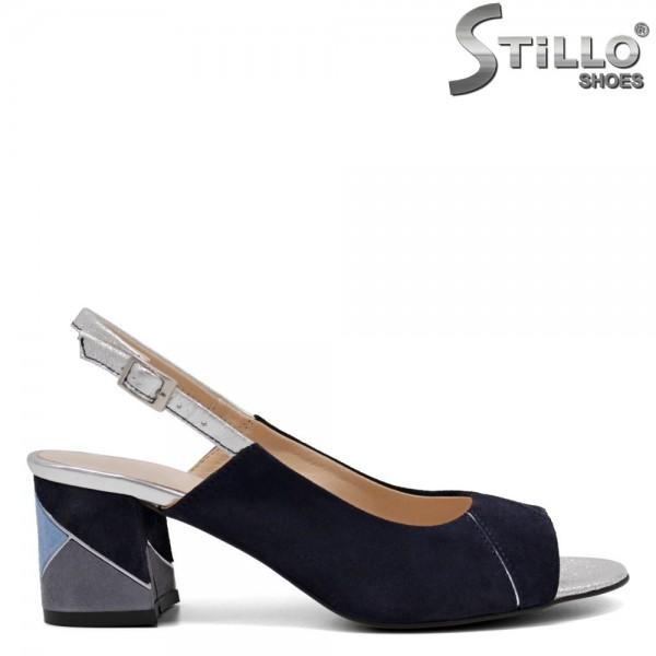 Sandale dama din velur natural de culoare albastru cu toc - 32680