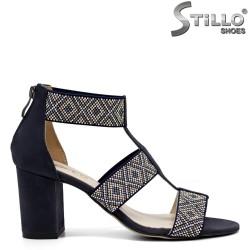 Sandale dama din nubuc de culoare albastru - 32682