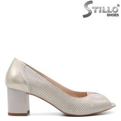 Pantofi dama din piele naturala de culoare auriu-32687